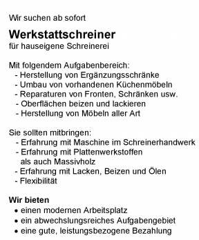 Werkstatt Schreiner